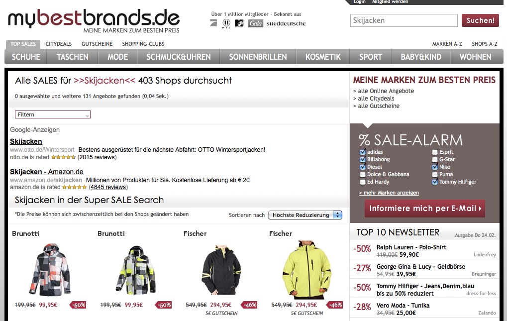 mybestbrands.de | Skijacken Sale